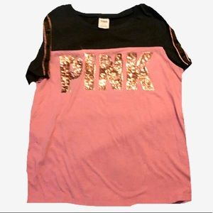 NWOT Victoria Secret PINK Rose Gold Sequin T-Shirt